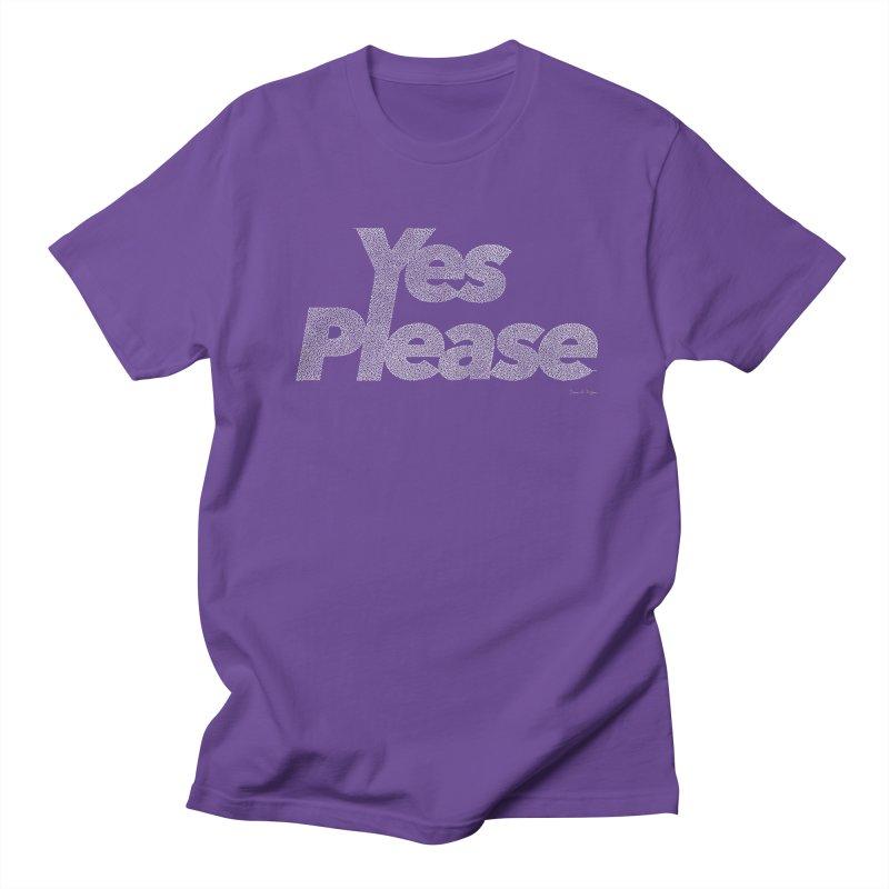 Yes Please (White) - One Continuous Line Men's Regular T-Shirt by Daniel Dugan's Artist Shop
