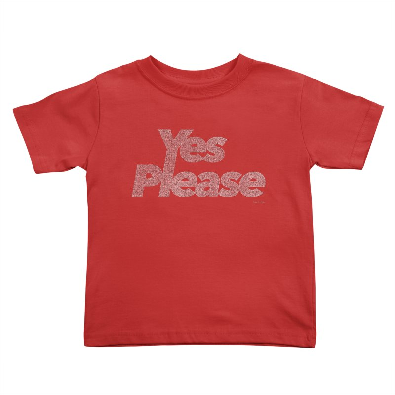 Yes Please (White) - One Continuous Line Kids Toddler T-Shirt by Daniel Dugan's Artist Shop