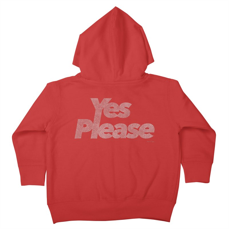 Yes Please (White) - One Continuous Line Kids Toddler Zip-Up Hoody by Daniel Dugan's Artist Shop