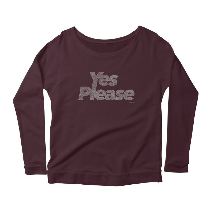 Yes Please (White) - One Continuous Line Women's Scoop Neck Longsleeve T-Shirt by Daniel Dugan's Artist Shop