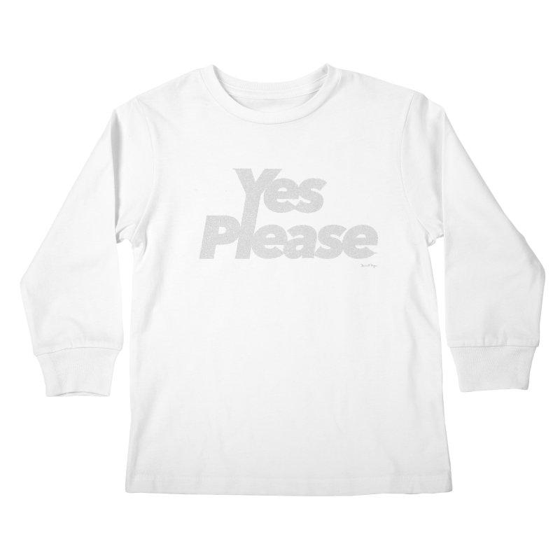 Yes Please (White) - One Continuous Line Kids Longsleeve T-Shirt by Daniel Dugan's Artist Shop