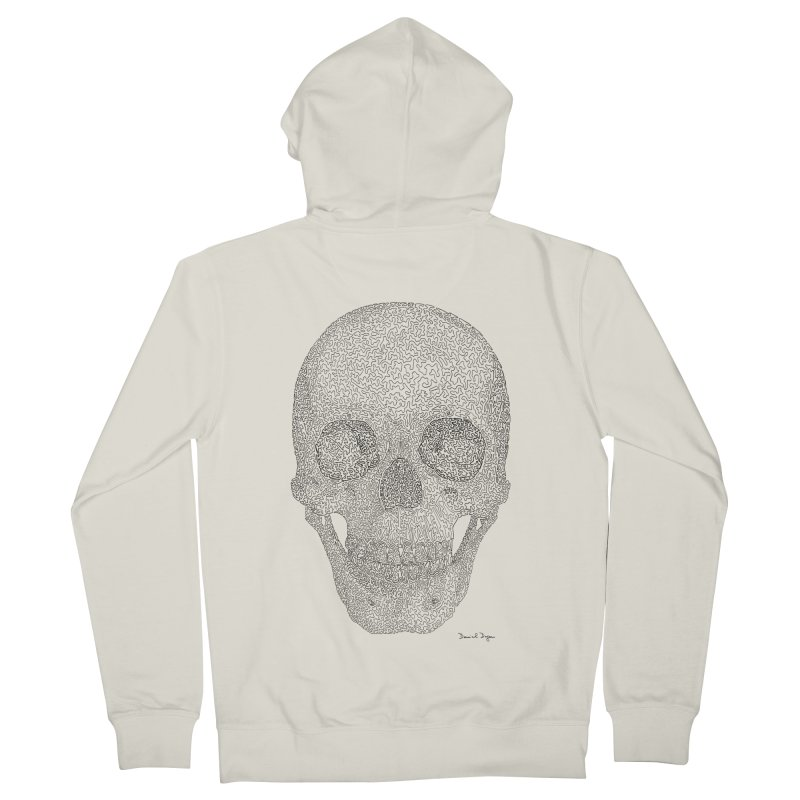 Skull (Black) Men's French Terry Zip-Up Hoody by Daniel Dugan's Artist Shop