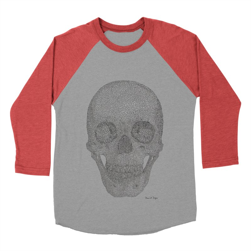 Skull (Black) Women's Baseball Triblend Longsleeve T-Shirt by Daniel Dugan's Artist Shop
