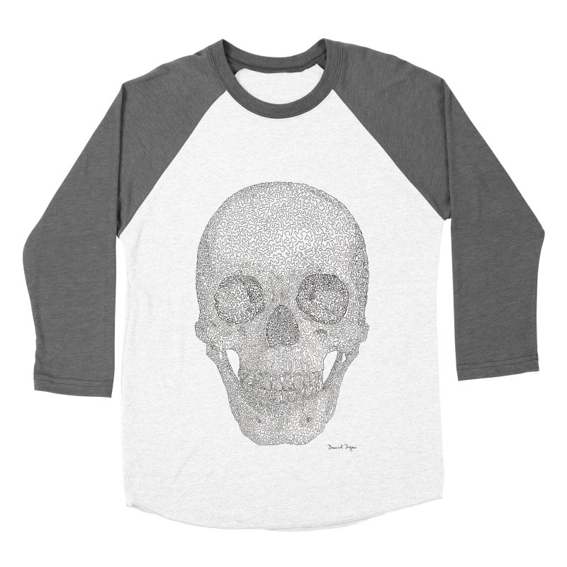 Skull (Black) Men's Baseball Triblend Longsleeve T-Shirt by Daniel Dugan's Artist Shop