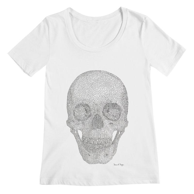 Skull (Black) Women's Regular Scoop Neck by Daniel Dugan's Artist Shop