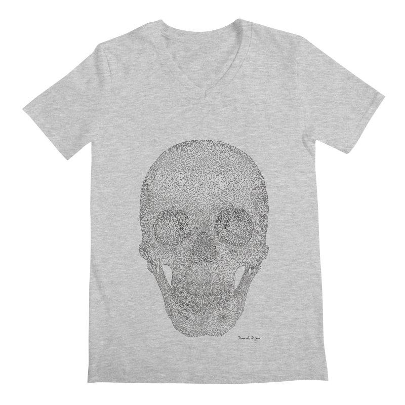Skull (Black) Men's Regular V-Neck by Daniel Dugan's Artist Shop