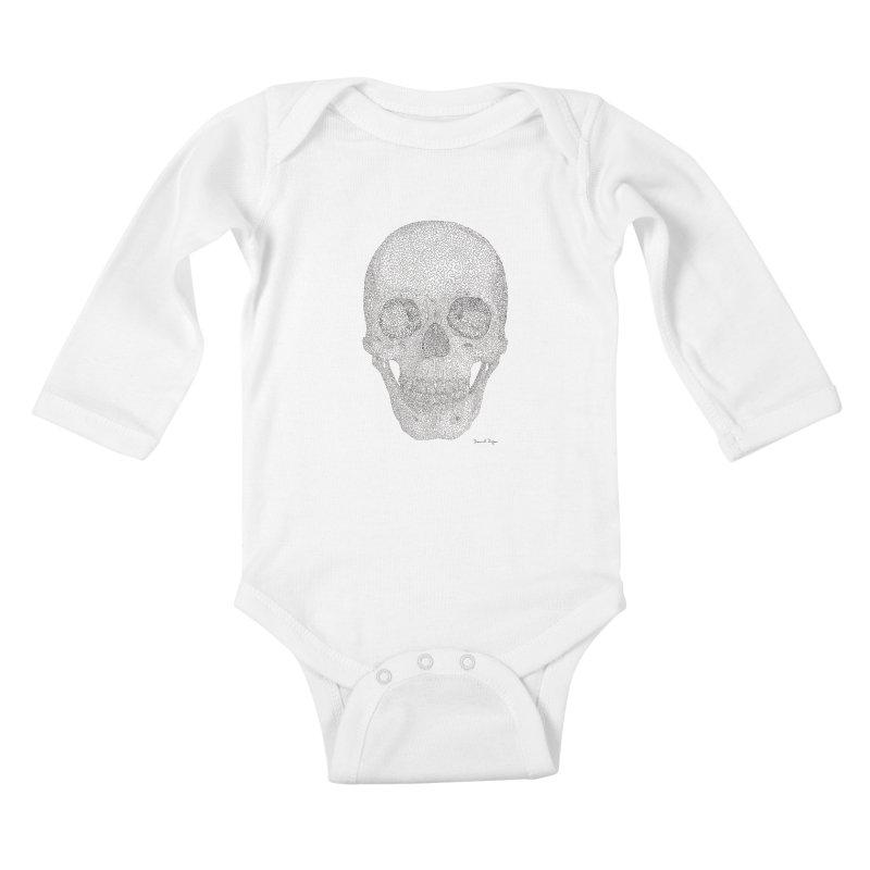 Skull (Black) Kids Baby Longsleeve Bodysuit by Daniel Dugan's Artist Shop