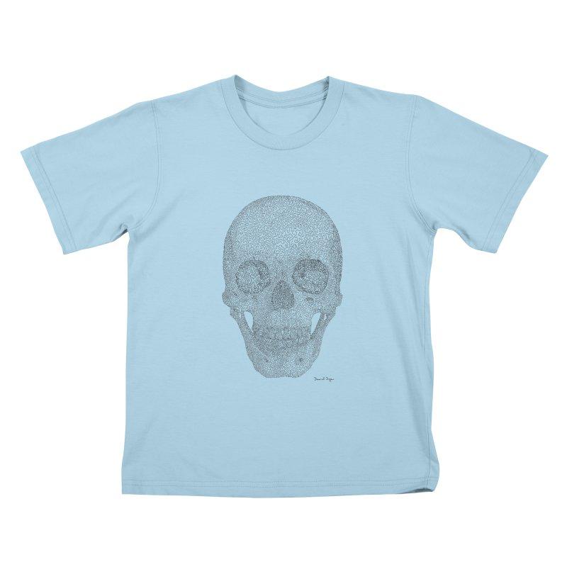 Skull (Black) Kids T-Shirt by Daniel Dugan's Artist Shop