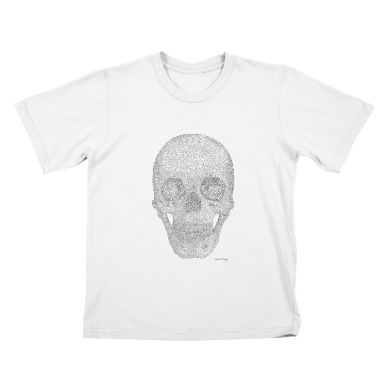 Skull (Black) Kids T-Shirt by Daniel Dugan's Artist Shop