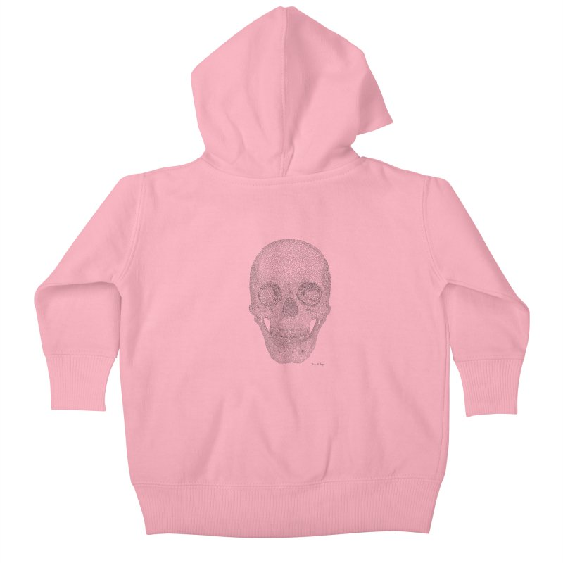 Skull (Black) Kids Baby Zip-Up Hoody by Daniel Dugan's Artist Shop