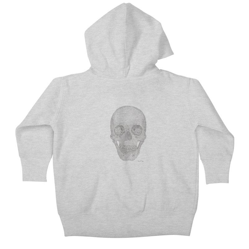 Skull (Black) Kids Baby Zip-Up Hoody by Daniel Dugan's Artist Shop