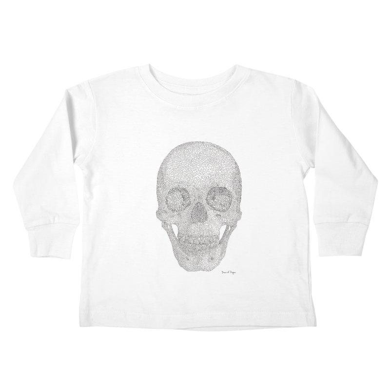 Skull (Black) Kids Toddler Longsleeve T-Shirt by Daniel Dugan's Artist Shop