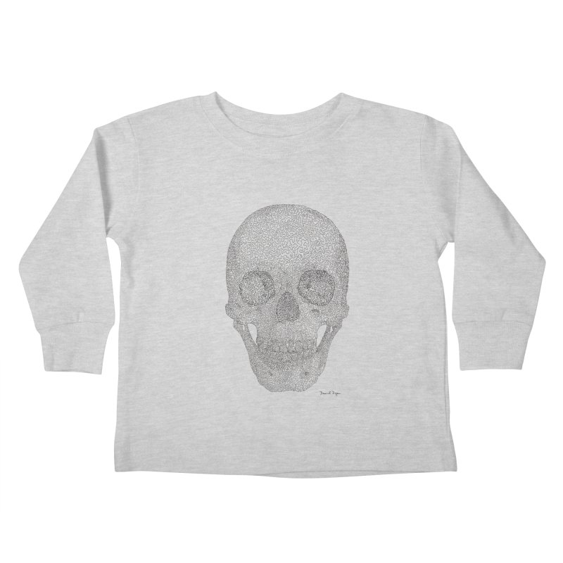 Skull (Black) Kids Toddler Longsleeve T-Shirt by Daniel Dugan's Artist Shop