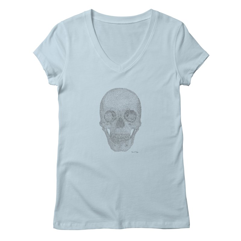 Skull (Black) Women's V-Neck by Daniel Dugan's Artist Shop