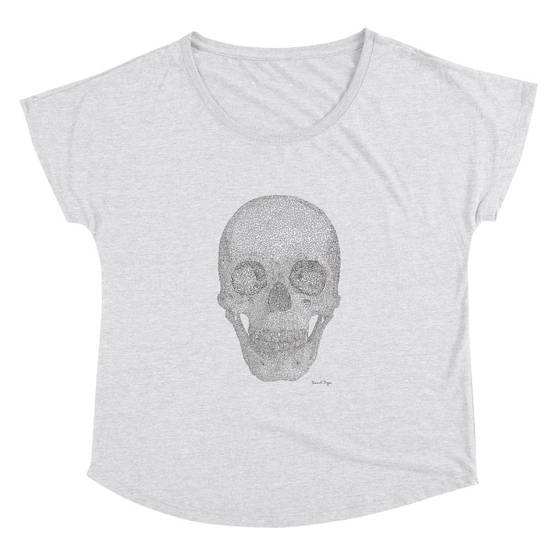 Skull (Black) Women's Dolman Scoop Neck by Daniel Dugan's Artist Shop