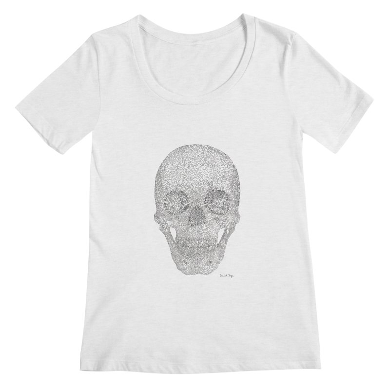 Skull (Black) Women's Regular Scoop Neck by Daniel Dugan's Artist Shop