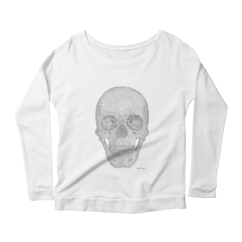 Skull (Black) Women's Scoop Neck Longsleeve T-Shirt by Daniel Dugan's Artist Shop