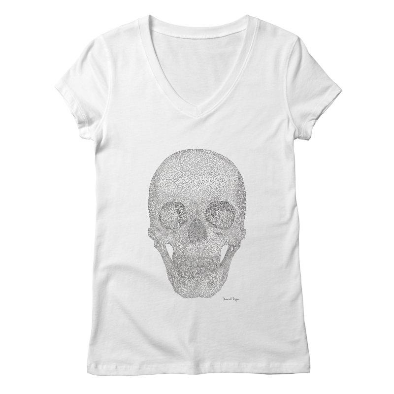 Skull (Black) Women's Regular V-Neck by Daniel Dugan's Artist Shop