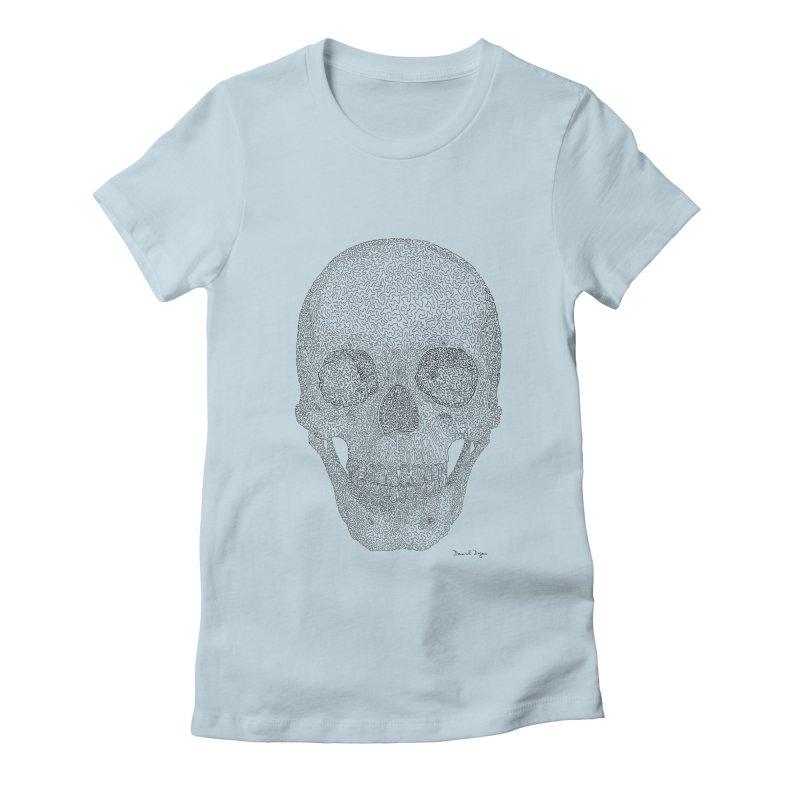 Skull (Black) Women's Fitted T-Shirt by Daniel Dugan's Artist Shop