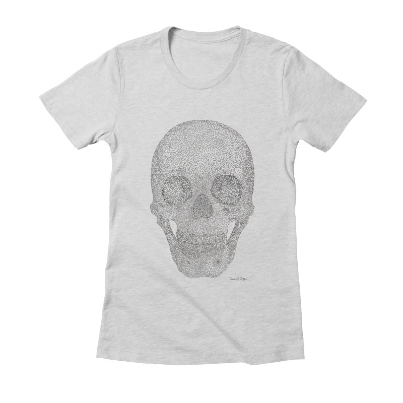 Skull (Black) Women's Fitted T-Shirt by Daniel Dugan's Artist Shop