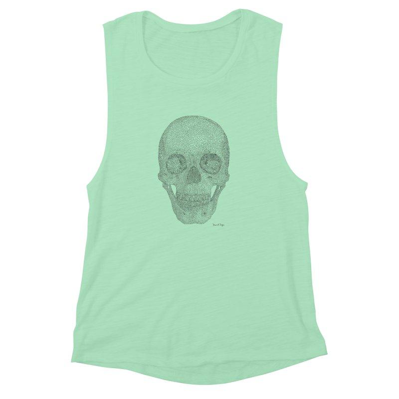 Skull (Black) Women's Muscle Tank by Daniel Dugan's Artist Shop