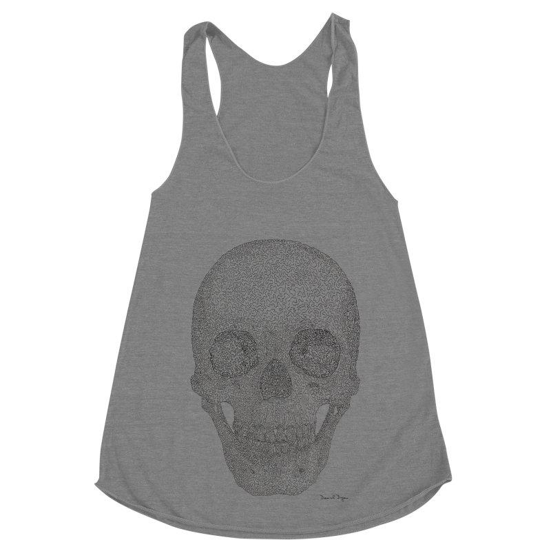 Skull (Black) Women's Racerback Triblend Tank by Daniel Dugan's Artist Shop