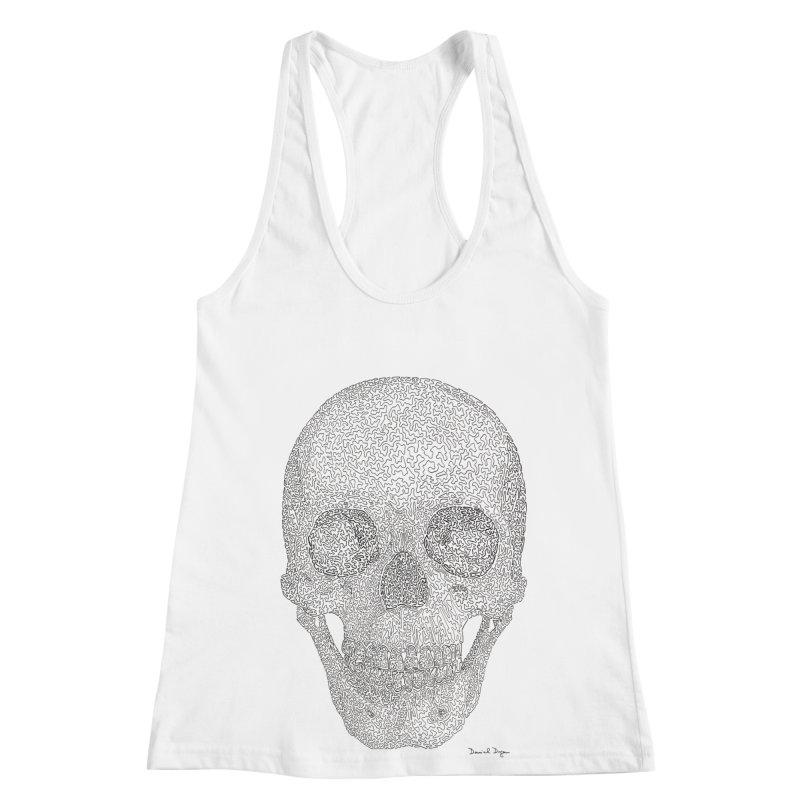 Skull (Black) Women's Racerback Tank by Daniel Dugan's Artist Shop