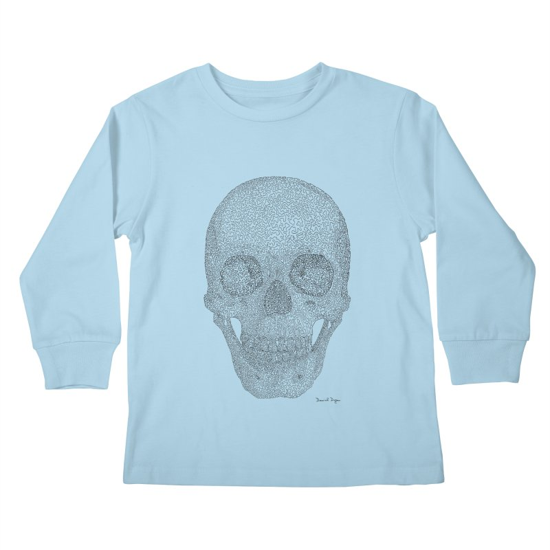 Skull (Black) Kids Longsleeve T-Shirt by Daniel Dugan's Artist Shop