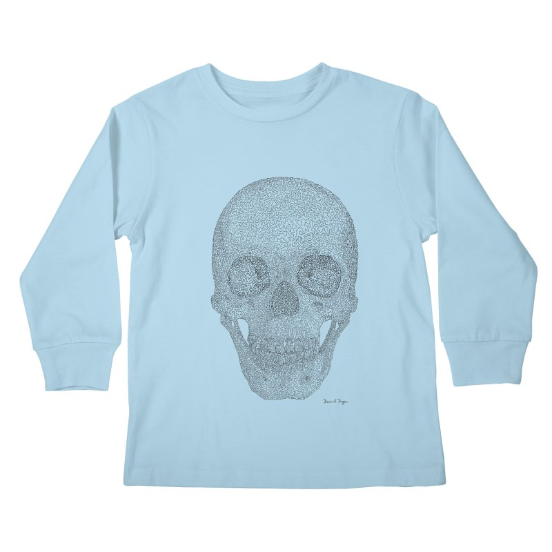 Skull (Black) Kids Longsleeve T-Shirt by Daniel Dugan's Artist Shop