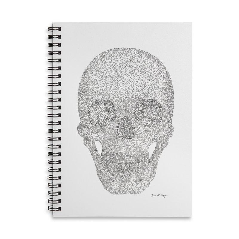 Skull (Black) Accessories Lined Spiral Notebook by Daniel Dugan's Artist Shop