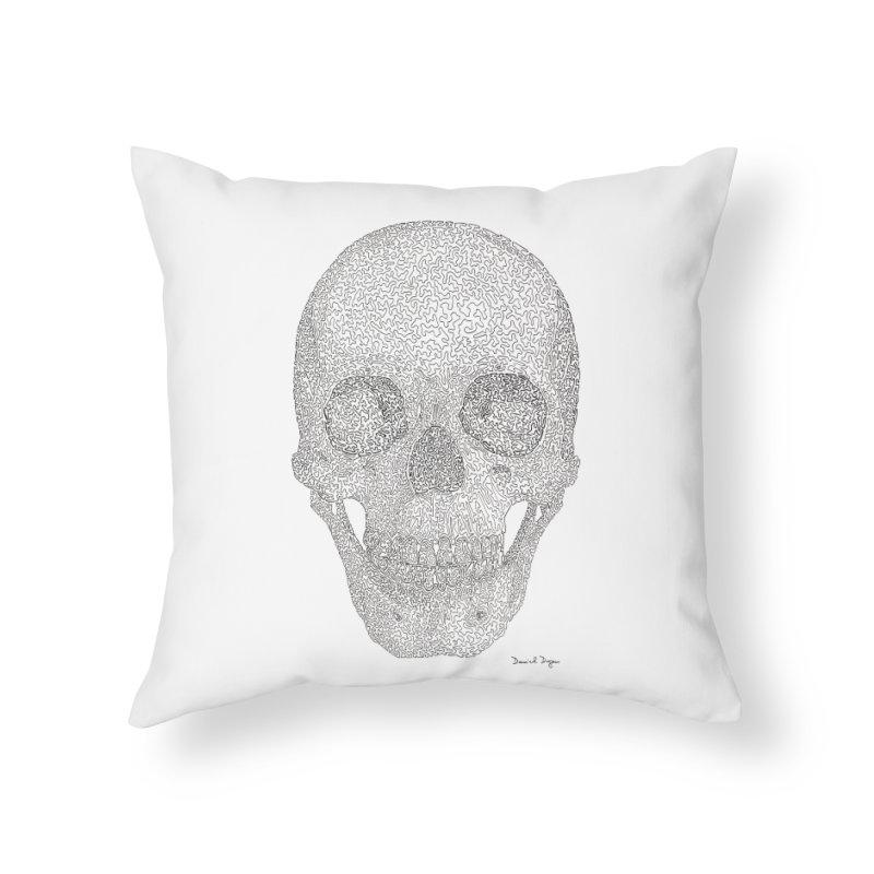 Skull (Black) Home Throw Pillow by Daniel Dugan's Artist Shop