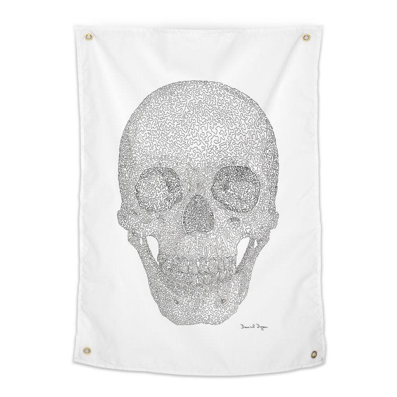 Skull (Black) Home Tapestry by Daniel Dugan's Artist Shop