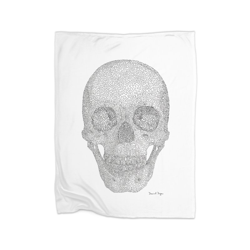 Skull (Black) Home Fleece Blanket Blanket by Daniel Dugan's Artist Shop
