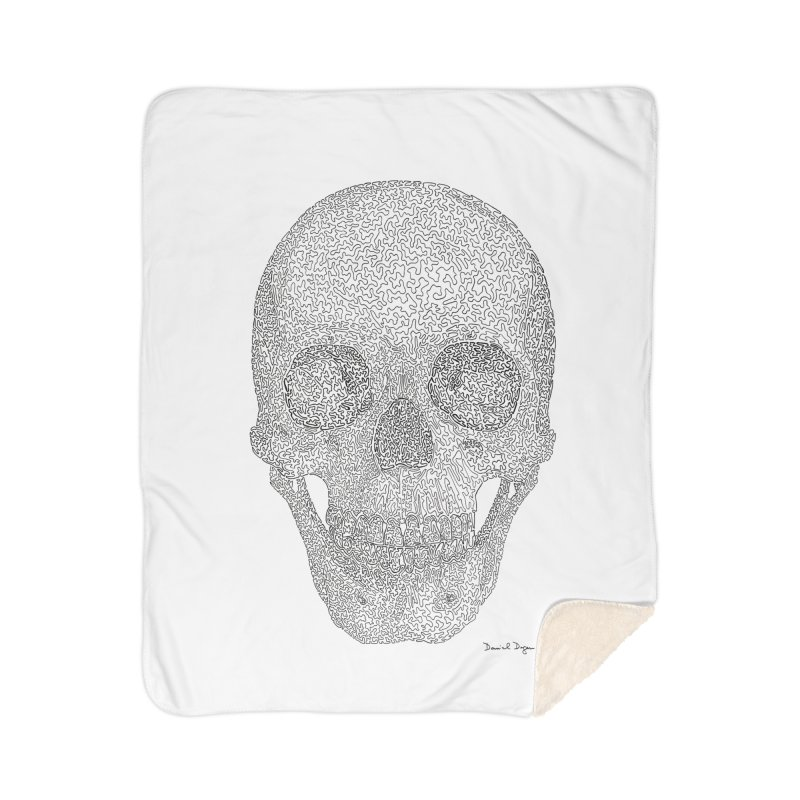 Skull (Black) Home Sherpa Blanket Blanket by Daniel Dugan's Artist Shop