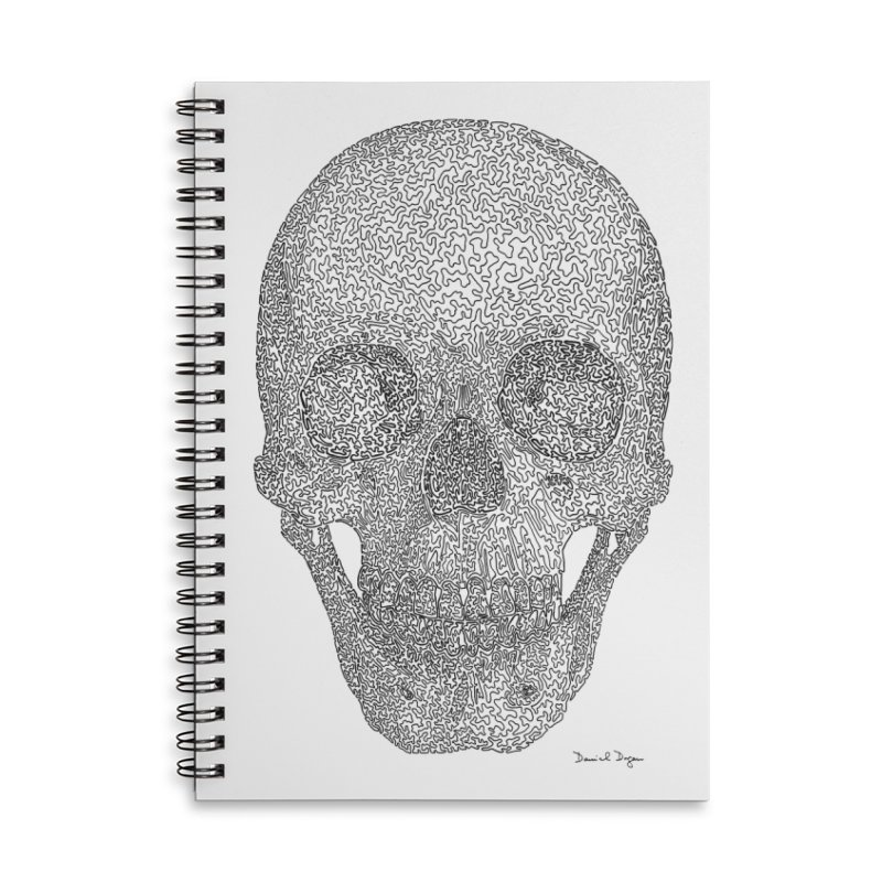 Skull - One Continuous Line Accessories Lined Spiral Notebook by Daniel Dugan's Artist Shop