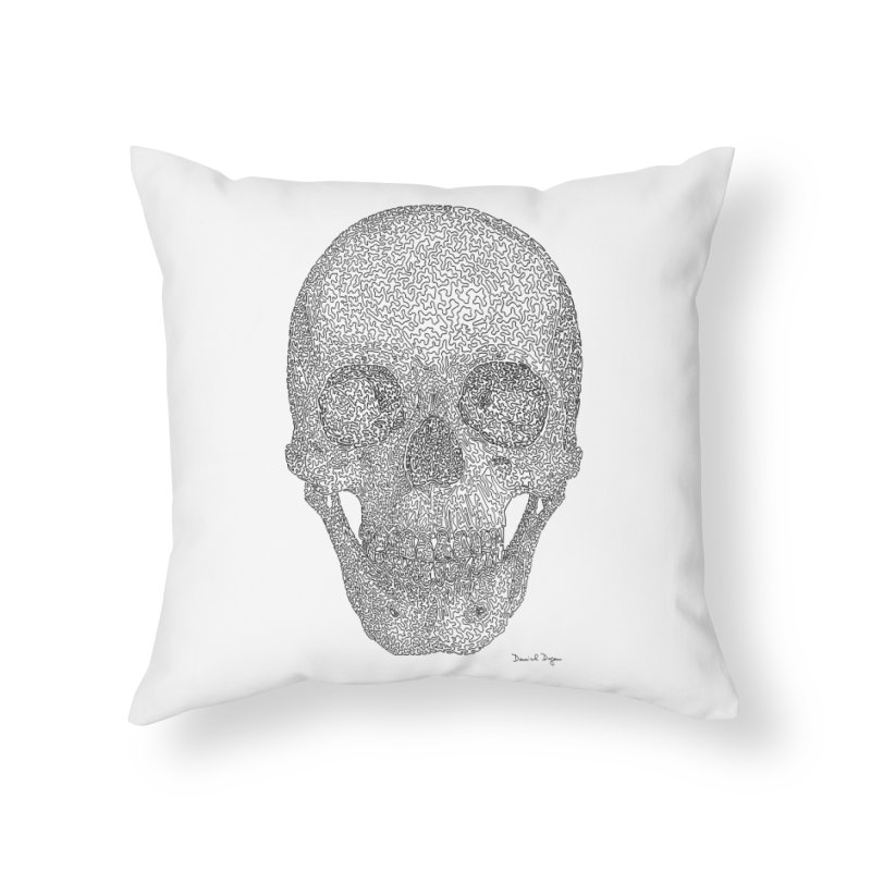 Skull - One Continuous Line Home Throw Pillow by Daniel Dugan's Artist Shop