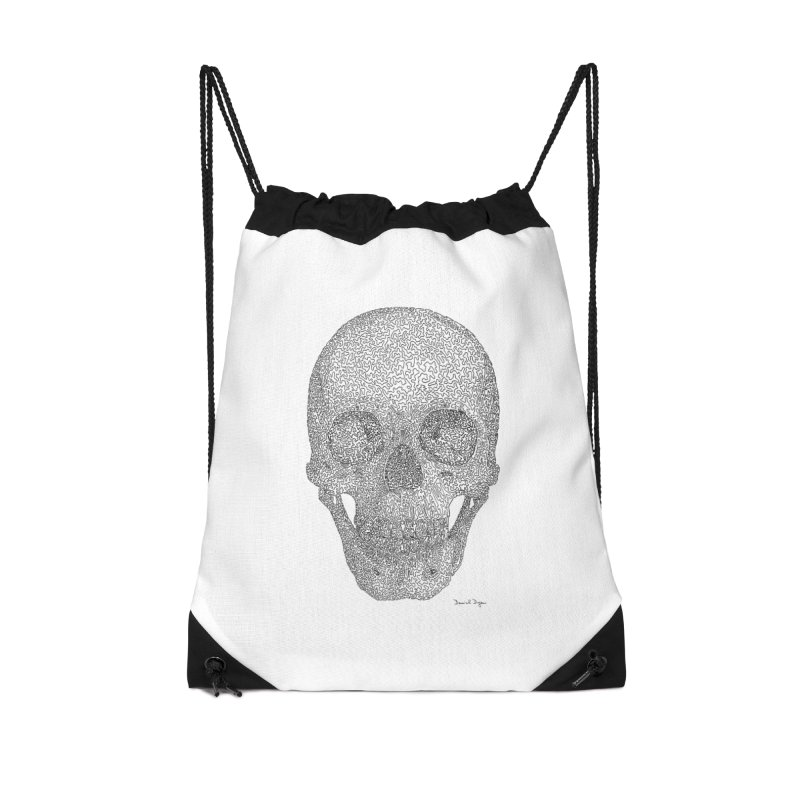 Skull - One Continuous Line Accessories Drawstring Bag Bag by Daniel Dugan's Artist Shop
