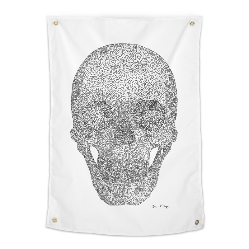 Skull - One Continuous Line Home Tapestry by Daniel Dugan's Artist Shop