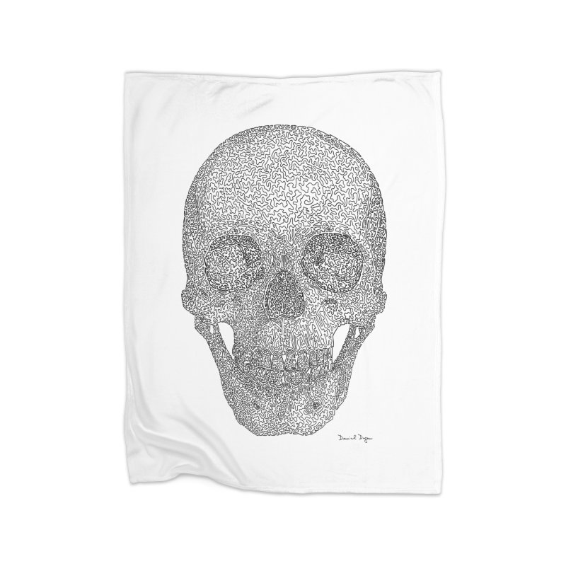 Skull - One Continuous Line Home Blanket by Daniel Dugan's Artist Shop
