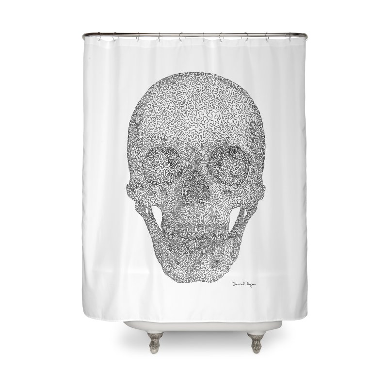 Skull - One Continuous Line Home Shower Curtain by Daniel Dugan's Artist Shop