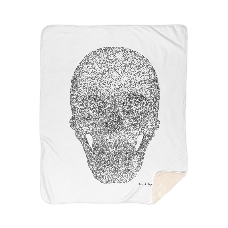 Skull - One Continuous Line Home Sherpa Blanket Blanket by Daniel Dugan's Artist Shop