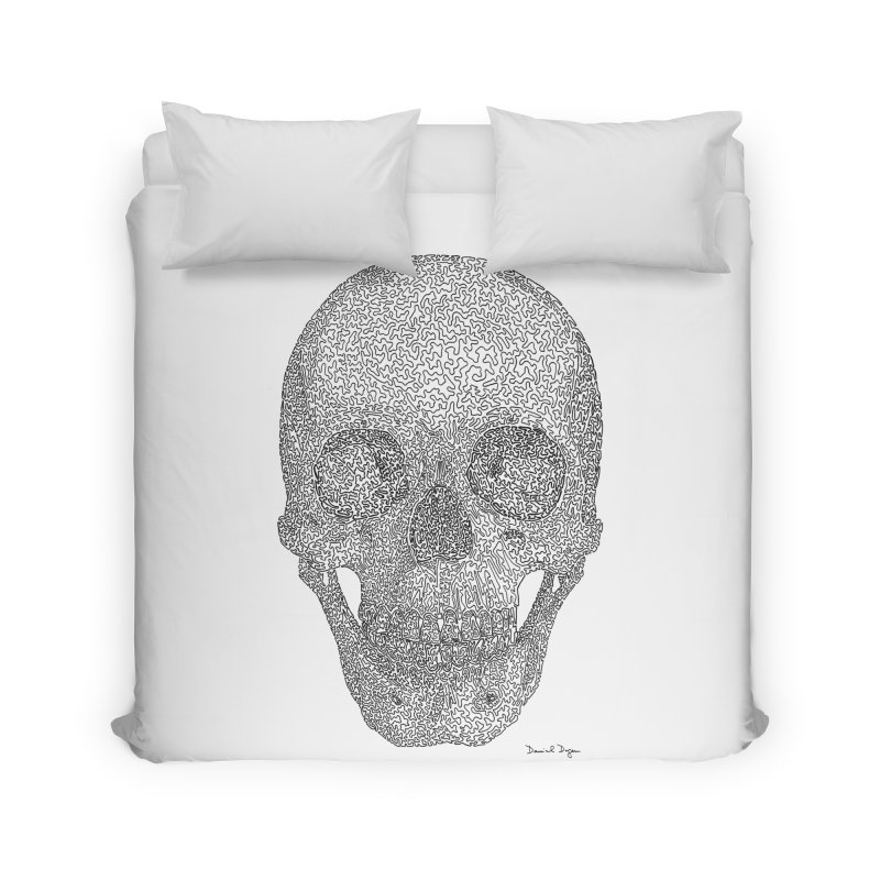 Skull - One Continuous Line Home Duvet by Daniel Dugan's Artist Shop