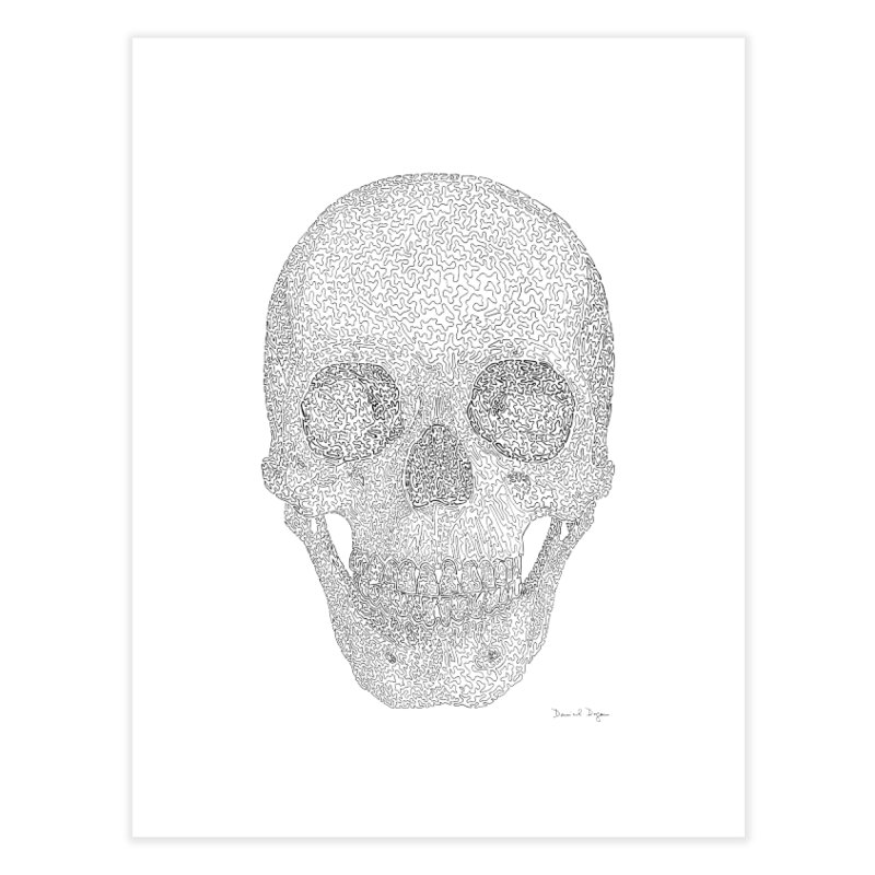 Skull (Black) - One Continuous Line Home Fine Art Print by Daniel Dugan's Artist Shop