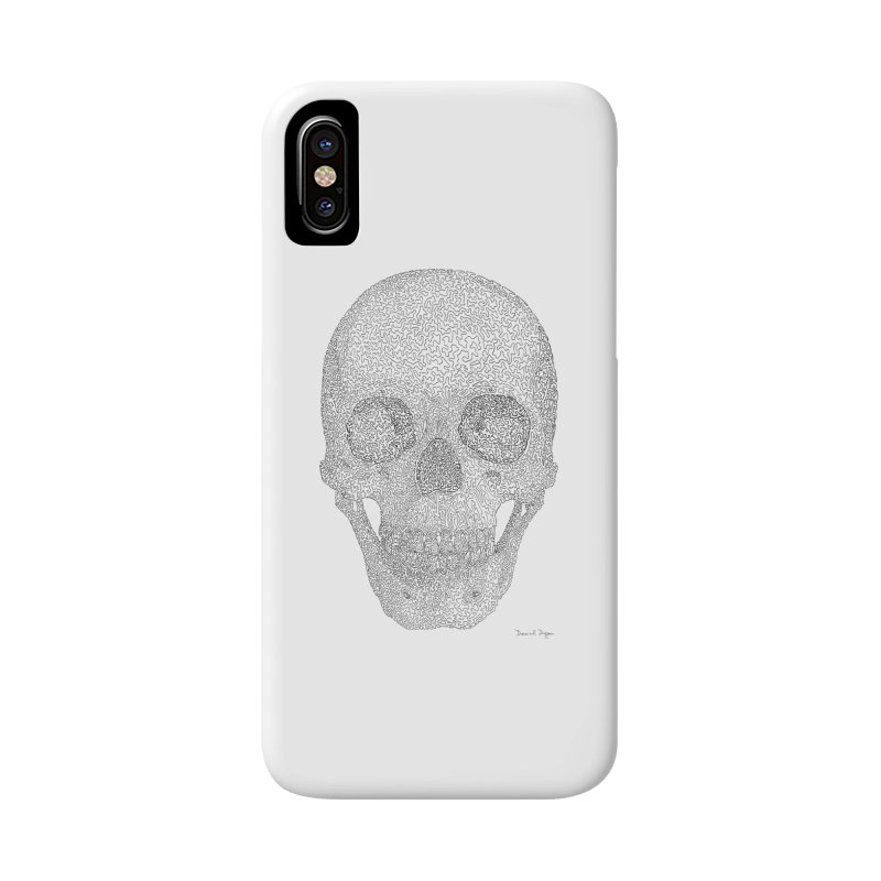 Skull (Black) - One Continuous Line Accessories Phone Case by Daniel Dugan's Artist Shop