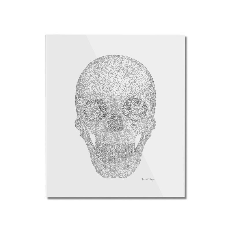 Skull (Black) - One Continuous Line Home Mounted Acrylic Print by Daniel Dugan's Artist Shop