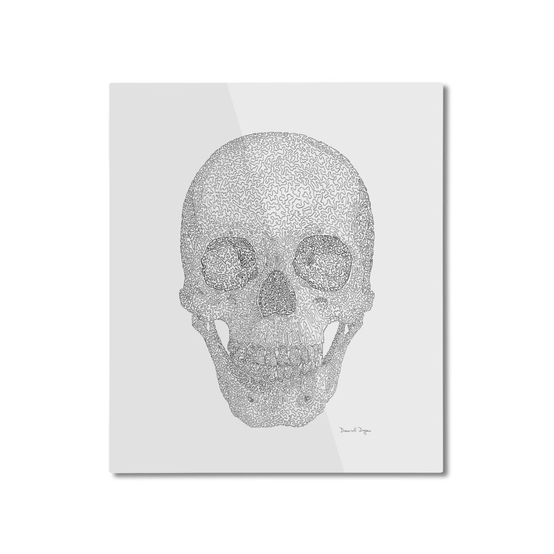 Skull (Black) - One Continuous Line Home Mounted Aluminum Print by Daniel Dugan's Artist Shop
