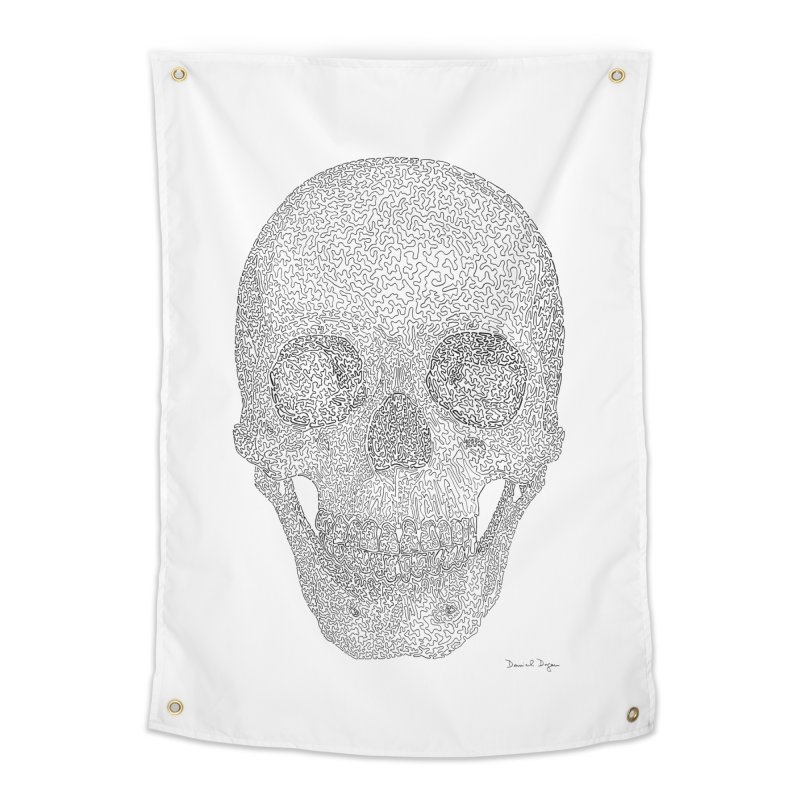 Skull (Black) - One Continuous Line Home Tapestry by Daniel Dugan's Artist Shop