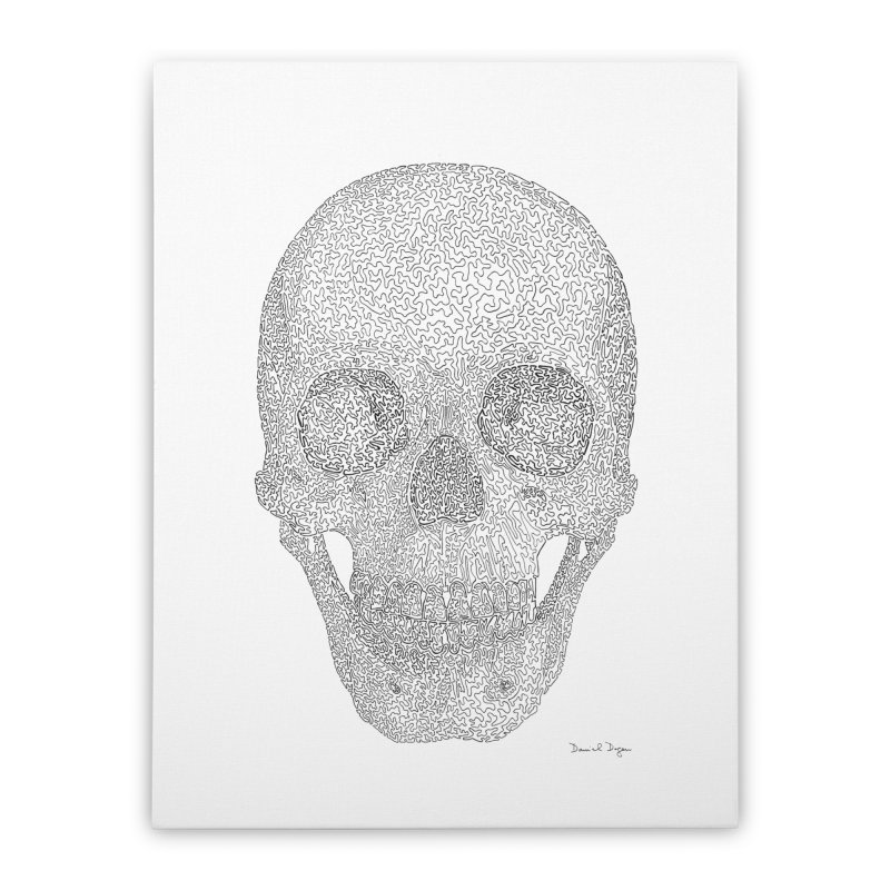 Skull (Black) - One Continuous Line Home Stretched Canvas by Daniel Dugan's Artist Shop