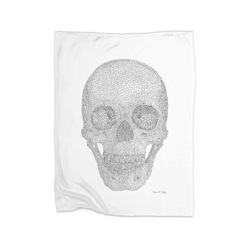 Skull (Black) - One Continuous Line Home Blanket by Daniel Dugan's Artist Shop