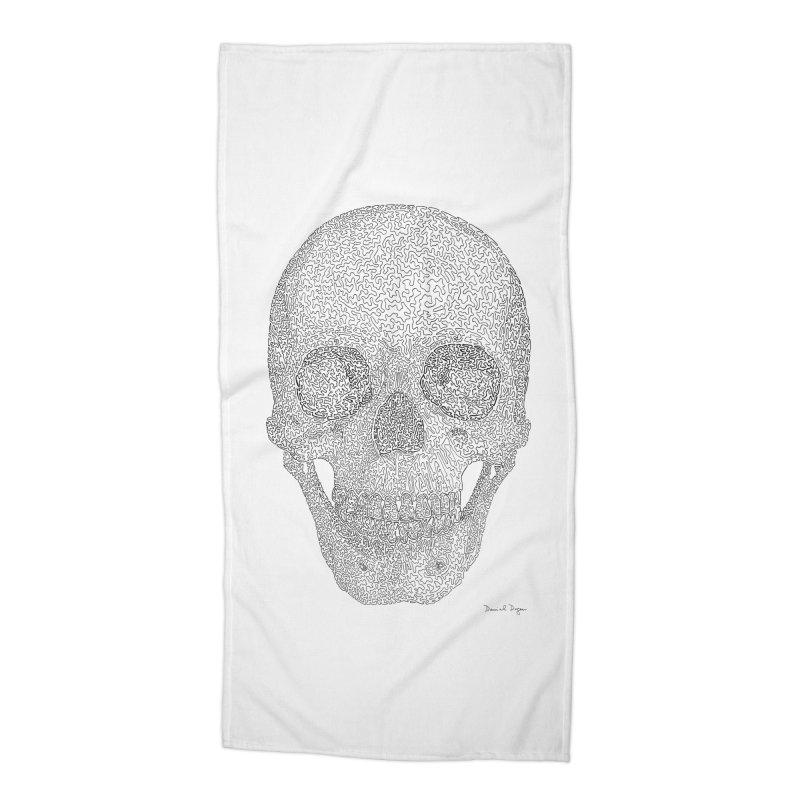Skull (Black) - One Continuous Line Accessories Beach Towel by Daniel Dugan's Artist Shop